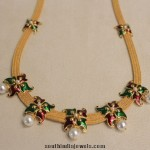 Latest Enamel Coated Fashionable Yellow Gold Necklace