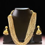 Multilayer Pearl Mala Set with Matching Jhumkas
