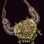 Gold Krishna Pendant With Rubies and Polki