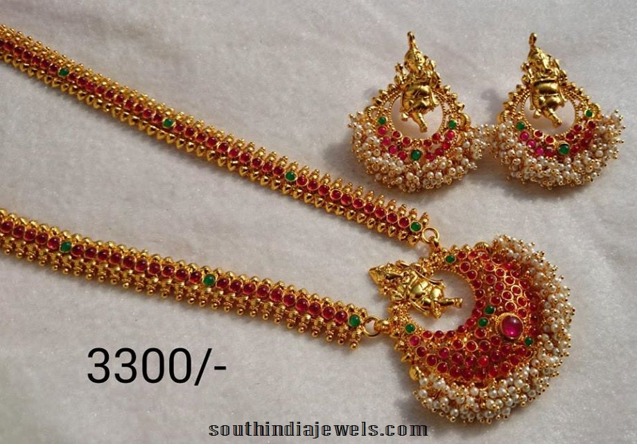 imitation temple jewellery long necklace set with matching earrings