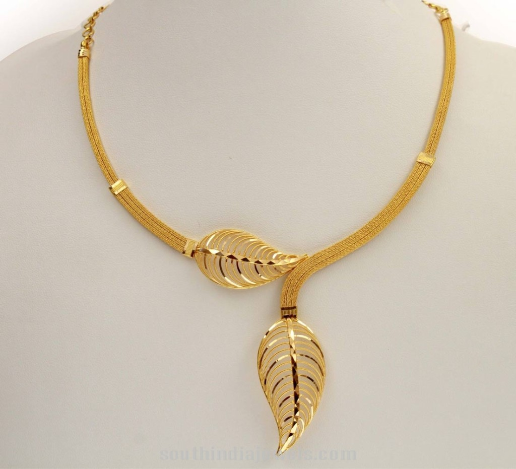 Kerala gold short necklace design