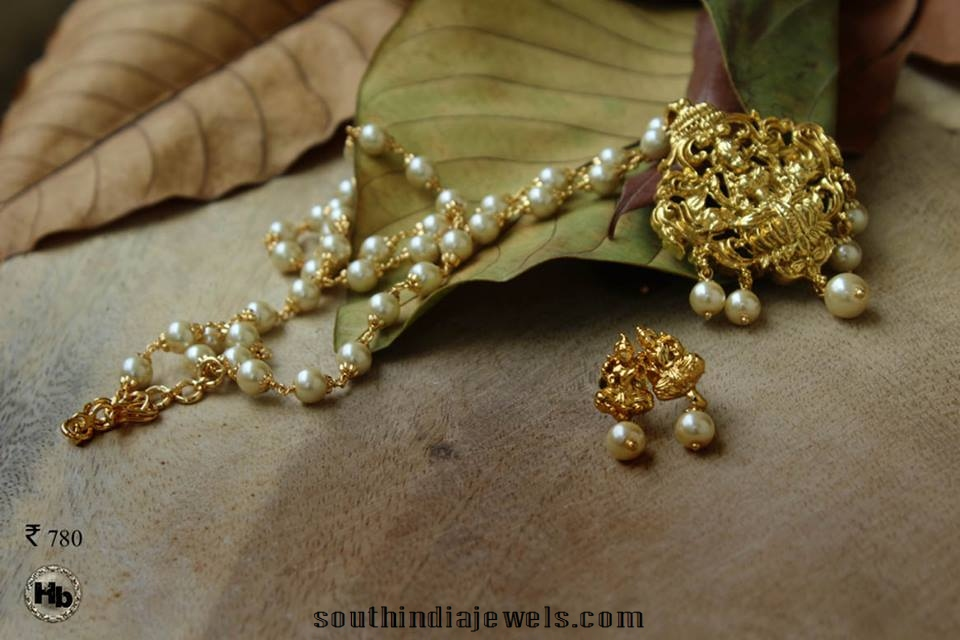 Temple Jewellery Pearl Beaded Pendant with earrings