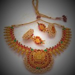 Temple Jewellery Necklace set with Jhumkas