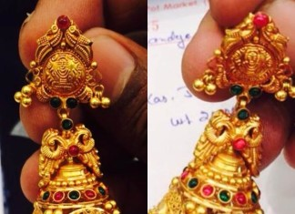 18 gms gold antique jhumka