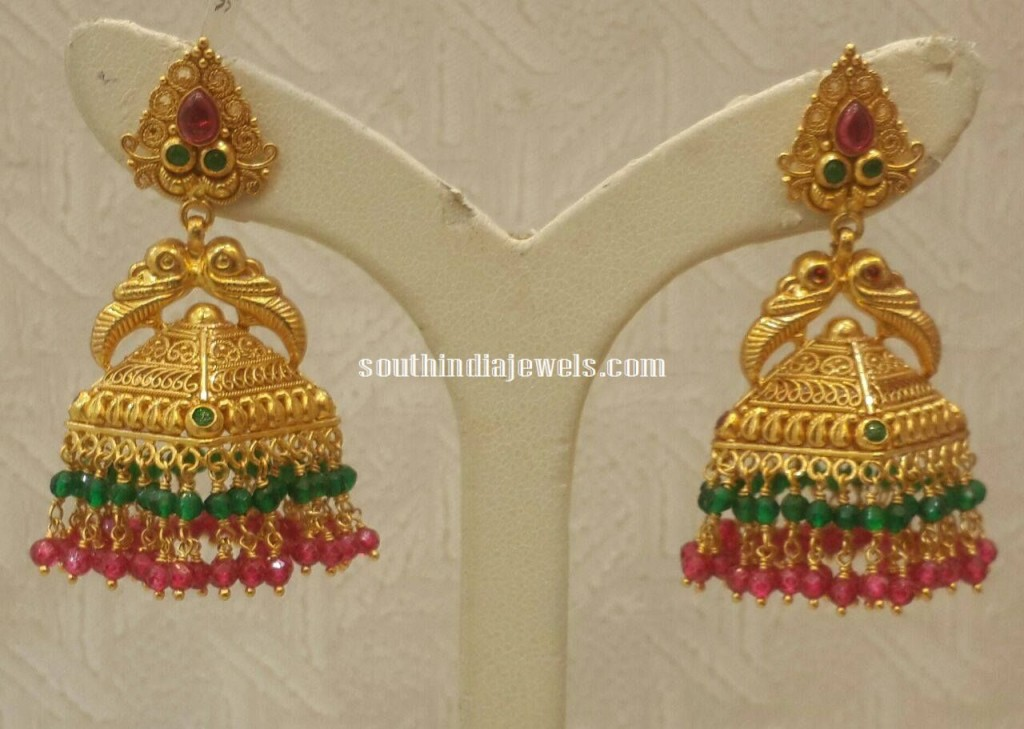 22K gold antique pyramid shape jhumkas