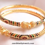 Gold Enamel Work Bangles