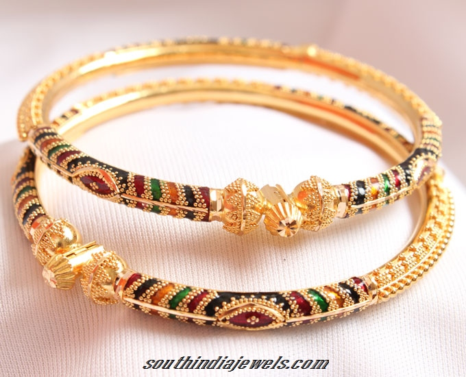 22K Gold Adjustable Bangle with Enamel Work