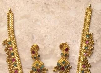 45 grams gold necklace set gundlu mala latest design