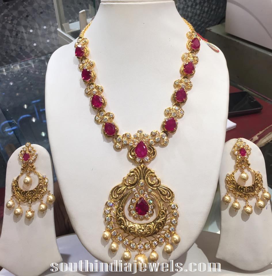 india south set jewels ruby gold antique seeta jewellers necklace jhumka pearl