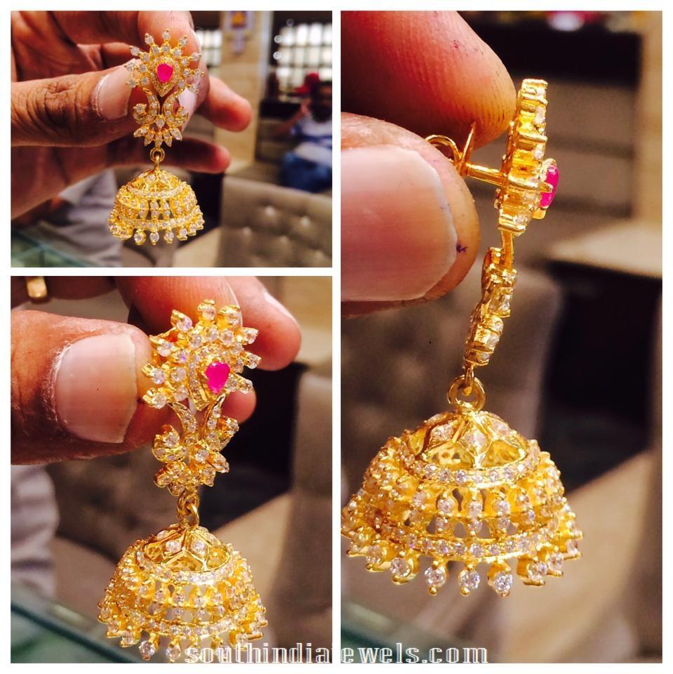 Gold CZ stone Jhumkas
