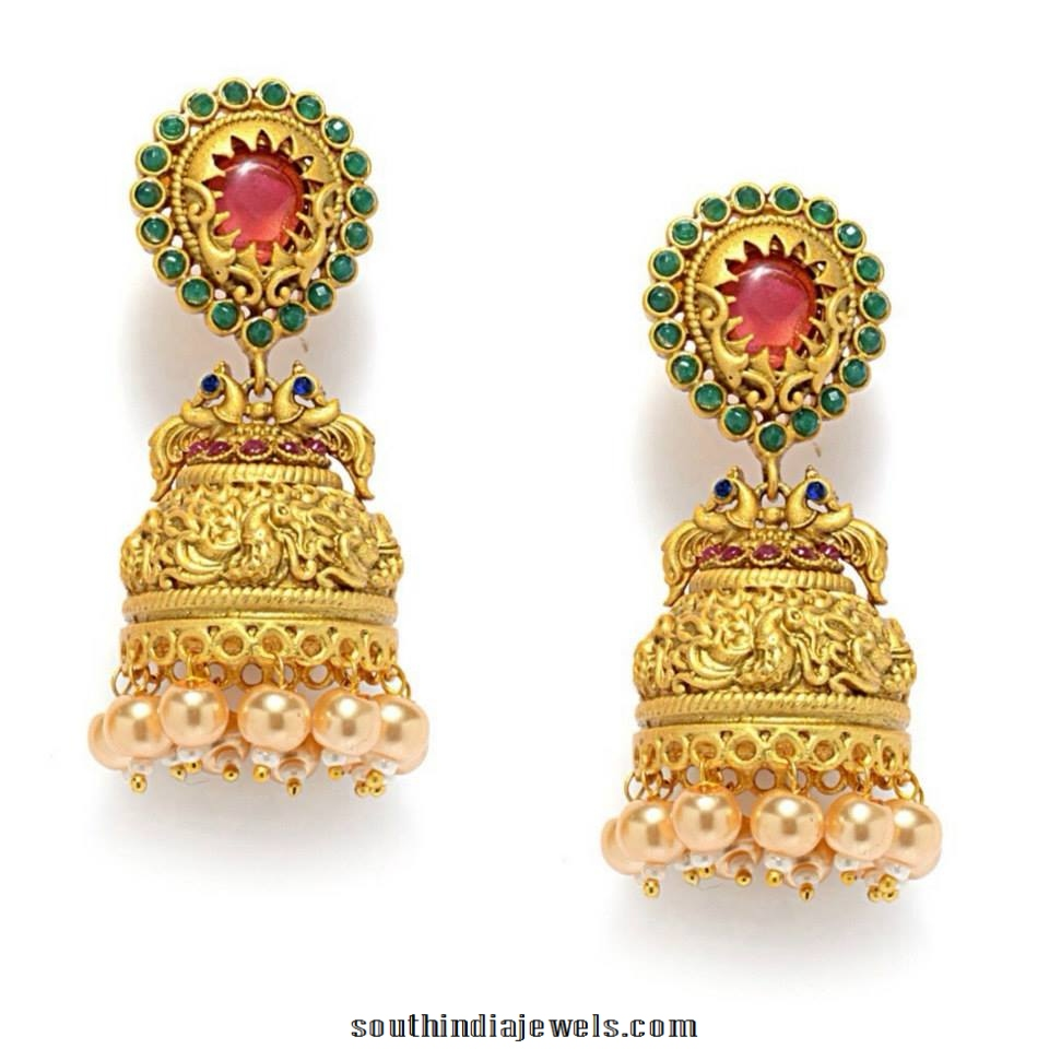 Designer Matt Finish green Stone Jhumka