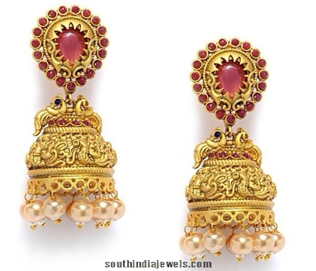 Designer Matt Finish Red Stone Jhumka
