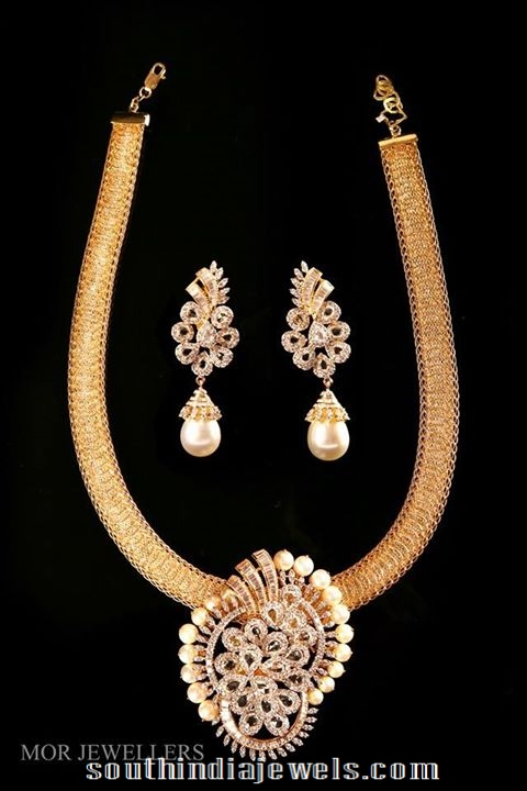 Diamond Attigai stule necklace