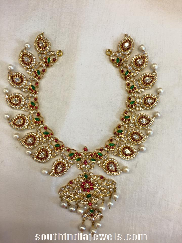 Diamond Mango mala necklace from radha jewellers