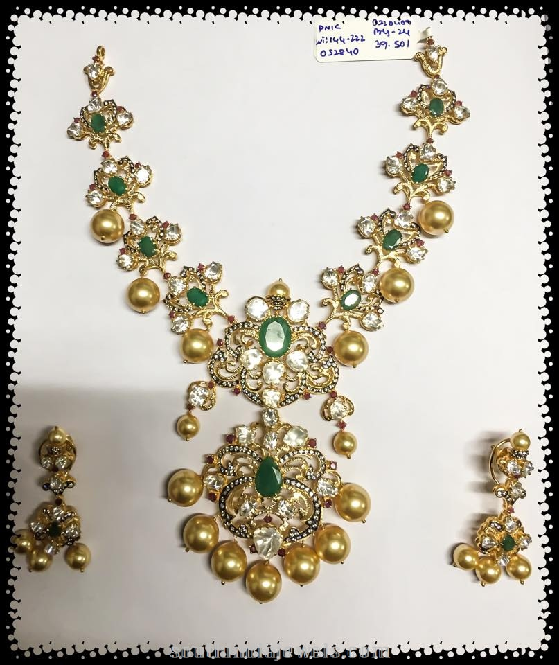 Diamond Emerald Necklace with southsea pearls