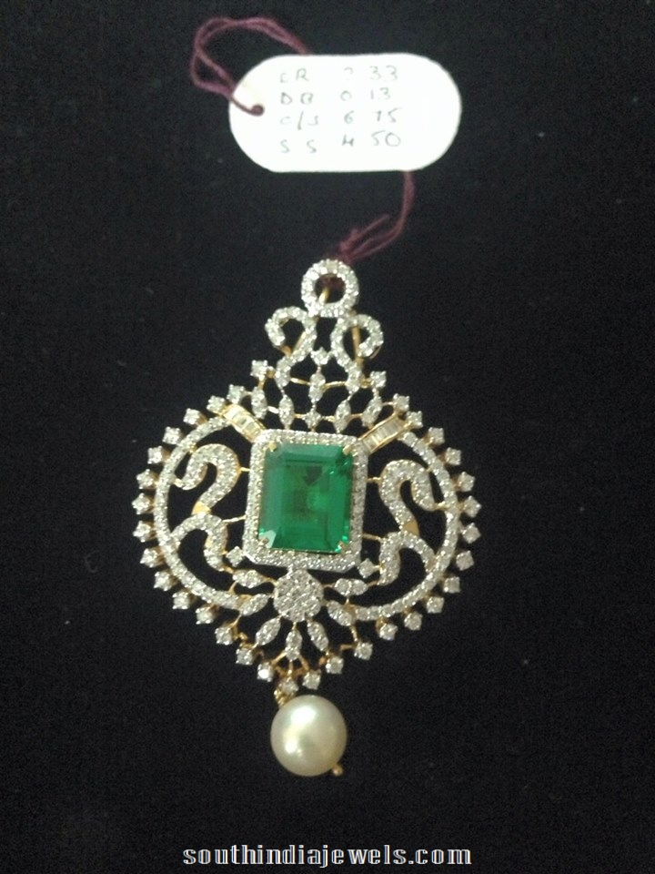 Diamond Pendant with emerald from Vajra Jewellery