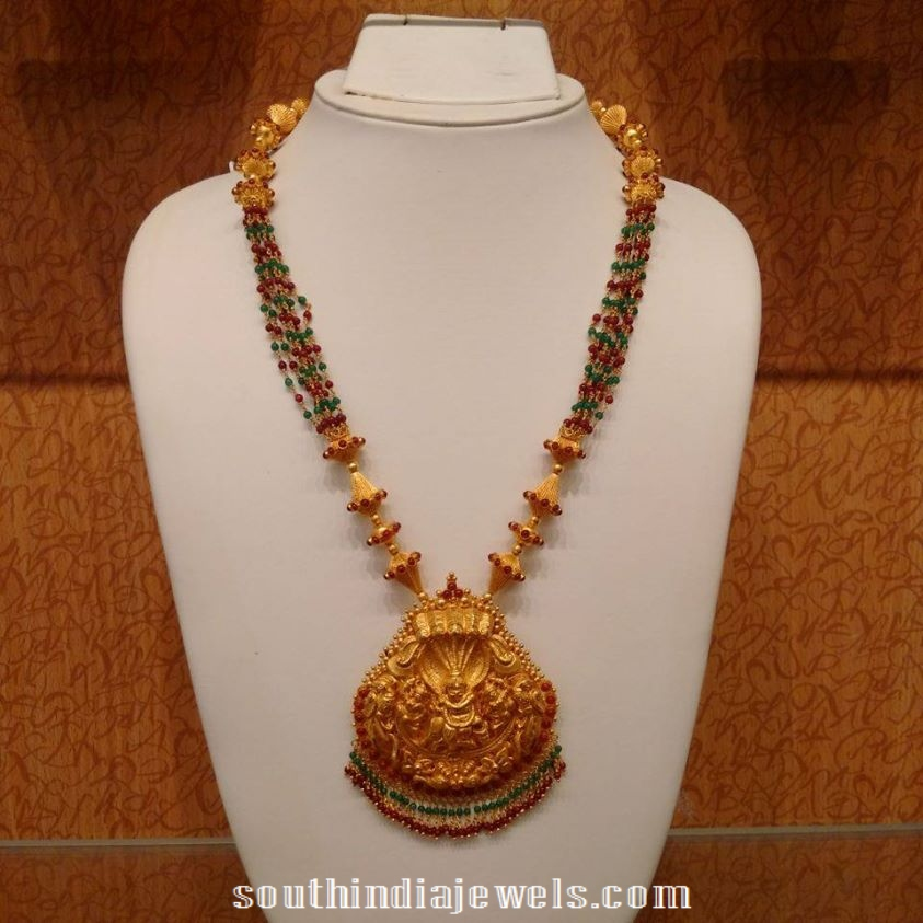 Gold beads temple jewellery necklace design