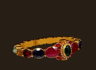 Gold Antique Navaratna Bangle from VBJ