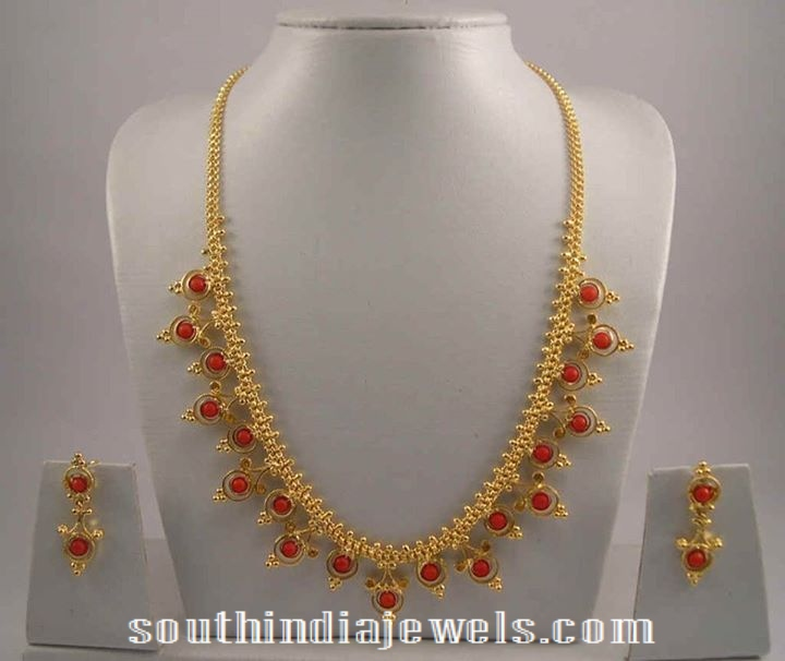 Gold Coral Necklace with earrings