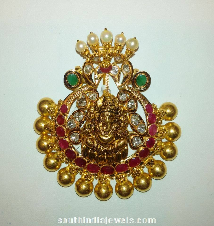 Gold antique finish ganesh pendant