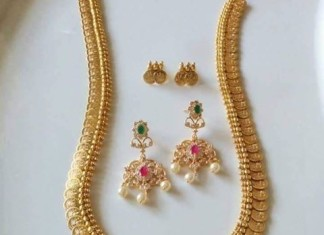 Imitation american diamond kasumalai necklace set from vanathi fashion jewel
