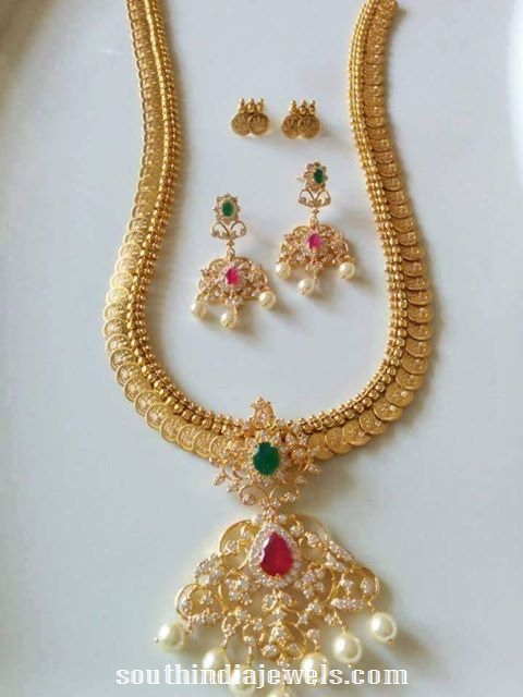 Imitation american diamond kasumalai necklace set from vanathi fashion jewel