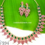 Imitation Ruby, Emerald Studded Mango Necklace