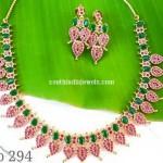 Imitation Ruby, Emerald Studded Mango Necklace