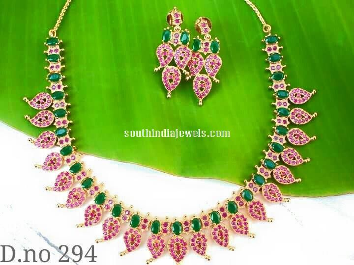 Imitation Ruby Emerald Mango Necklace