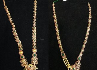 Latest Ruby Emerald Long Necklace Designs 2015
