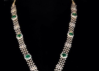 Diamond Long Necklace with Earrings