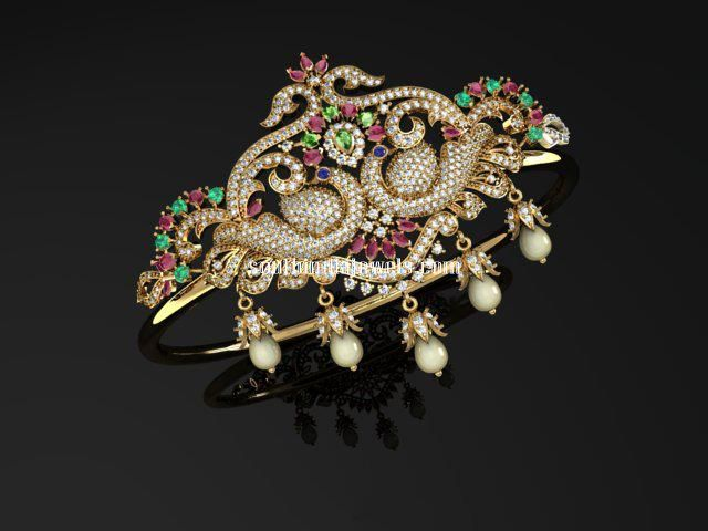 Peacock gold arm band