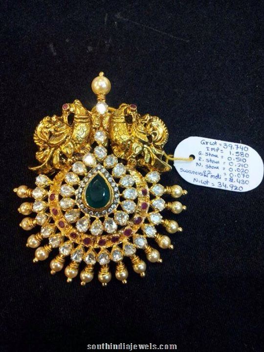 Gold Peacock pendant