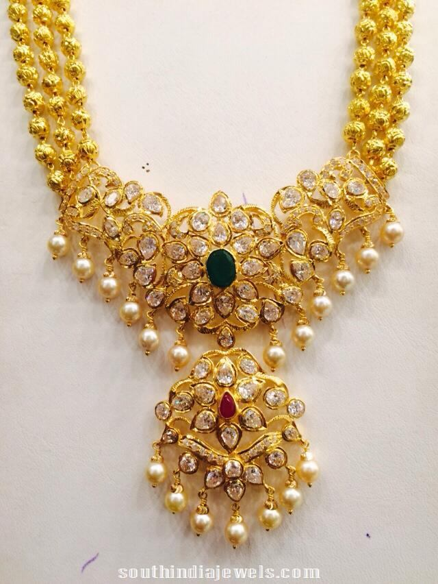 Three layer gold ball long haram latest design