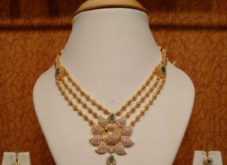 Three Layer Gold Ball Necklace With Peacock Pendant