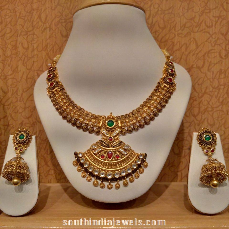 Antique Kundan Necklace With Jhumkas from NAJ Jewellery
