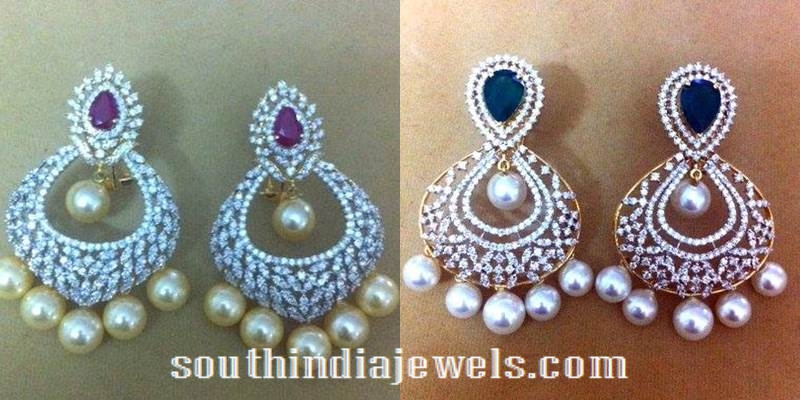 Gold Diamond Chandbali earrings designs