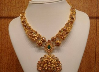 gold antique necklace with diamond polki stones