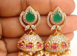 imitation pearl clustered jhumkas