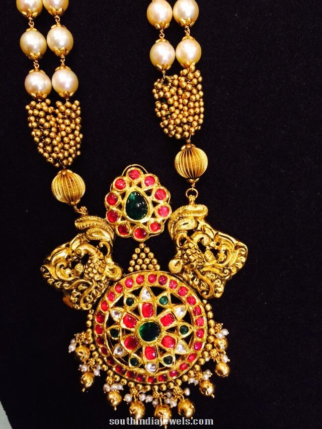 Nakshi Jewellery Haram with rubies and pearls