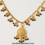 22 Carat Gold Black Bead Short Necklace