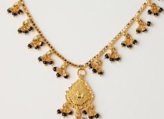 Gold Black Bead Short Necklace Design
