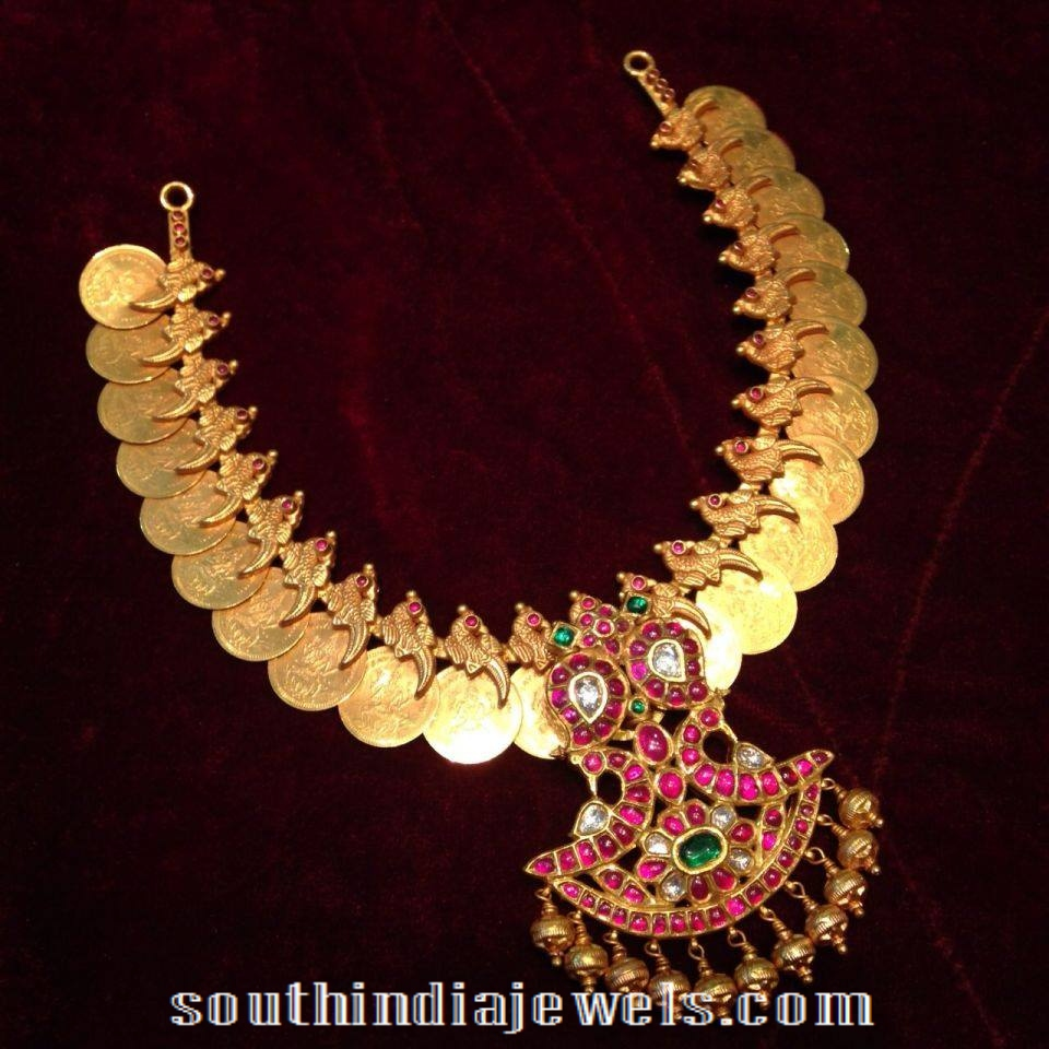 Traditional Coin Necklace with ruby pendant
