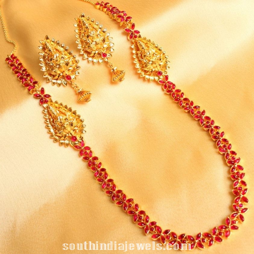 1 gram gold floral ruby necklace with earrings