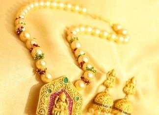 1 gram gold pearl mala with jhumka