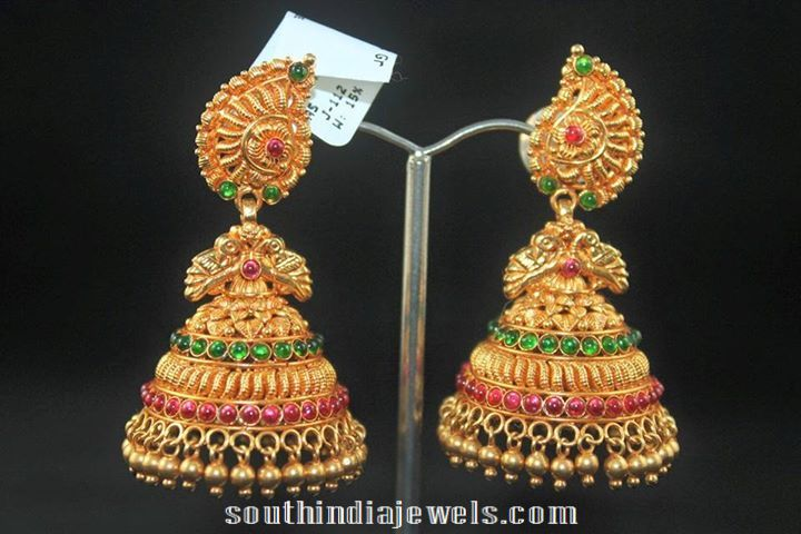 22k Gold Antique Jhumka South India Jewels