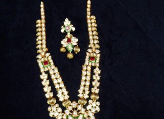 22k gold two layer pachi haram necklace set