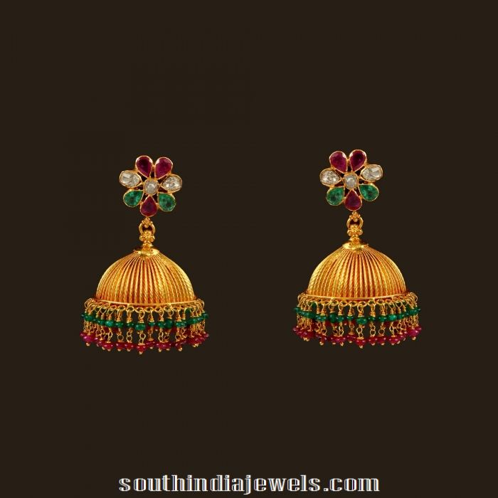 22k Gold Jhumkas From Vbj South India Jewels
