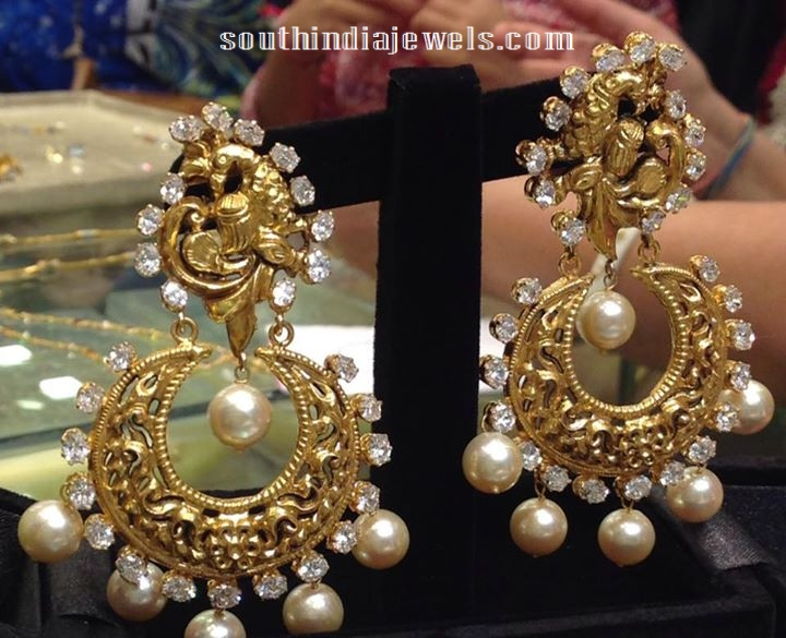 42 grams antique gold chandbalis