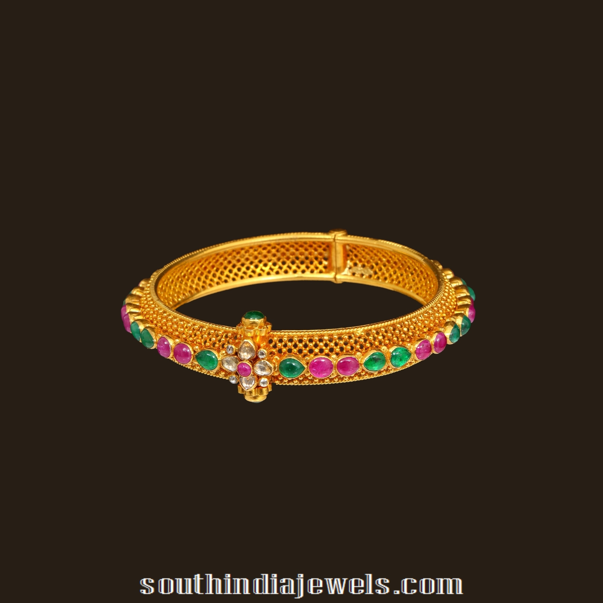 Gold Kada Style Bangle South India Jewels